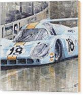 Porsche 917 Lh 24 Le Mans 1971 Rodriguez Oliver Wood Print by Yuriy  Shevchuk