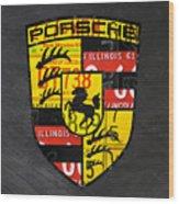 Porsche Sports Car Logo Recycled Vintage License Plate Car Tag Art Wood Print