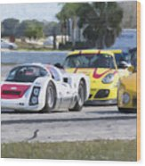 Porsches In The Corner At Sebring Raceway Wood Print