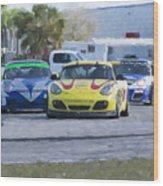 Porsches Rounding The Corner At Sebring Wood Print