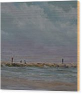 Port Aransas Jetty In Wood Print