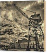Port Crane At Sunset Wood Print