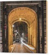 Port Dinan Archway At Night Wood Print