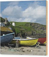 Port Isaac Boats Wood Print