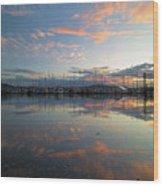 Port Of Anacortes Marina At Sunset Wood Print