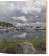 Port Of Anacortes Marina On A Cloudy Day Wood Print