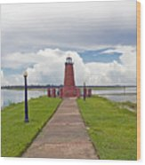 Port Of Kissimmee Lighthouse On Lake Tohopekaliga In Central Florida Wood Print
