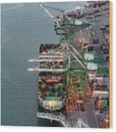 Port Of Oakland Aerial Photo Wood Print