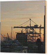 Port Of Oakland Sunset Wood Print