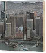 Port Of San Francisco And Downtown Financial District Wood Print