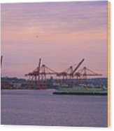 Port Of Seattle During Colorful Sunset Wood Print