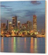 Port Of Singapore With City Skyline Wood Print