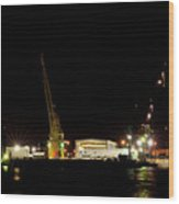 Port Of Tampa At Night Wood Print