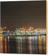 Port Of Vancouver Bc At Night Wood Print