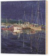 Marina Evening Reflections Wood Print