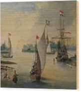 Port Scene With Sailing Ships Wood Print