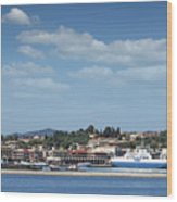 port with ferry boats Corfu Greece Wood Print
