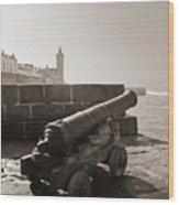 Porthleven Cannon Sepia Wood Print
