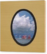 Porthole View Of Container Cranes Wood Print