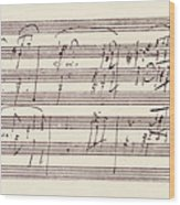 Portion Of The Manuscript Of Beethoven's Sonata In A, Opus 101 Wood Print