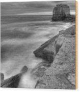 Portland Bill Seascape In Black And White Wood Print