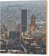 Portland City Downtown Cityscape Panorama Wood Print
