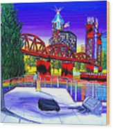 Portland City Lights 62 Over Fire Station #21 Wood Print