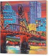Portland City Lights Over The Hawthorne Bridge Wood Print