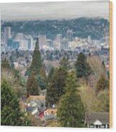 Portland City Skyline From Mount Tabor Wood Print