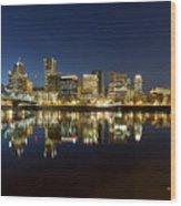 Portland City Skyline Reflection On Willamette River Wood Print