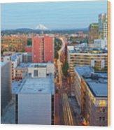 Portland Cityscape Along Morrison Bridge Wood Print