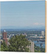 Portland Cityscape And Bridges On A Clear Blue Day Wood Print