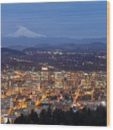 Portland Cityscape During Blue Hour Wood Print