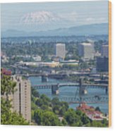 Portland Cityscape With Mount Saint Helens View Wood Print