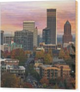 Portland Downtown Cityscape During Sunrise In Fall Wood Print