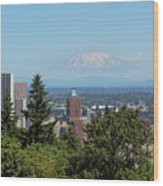 Portland Downtown Cityscape With Mount Saint Helens View Wood Print