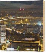 Portland Fremont Bridge Light Trails At Night Wood Print