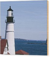Portland Harbor Lighthouses Wood Print by George Oze