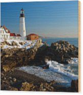 Portland Head Light - Lighthouse Seascape Landscape Rocky Coast Maine Wood Print by Jon Holiday