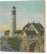 Portland Head Light At Sunrise Wood Print