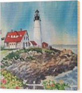 Portland Head Light Wood Print by Dianna  Willman