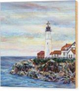 Portland Head Light In Maine Wood Print