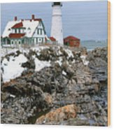 Portland Head Light In Winter Wood Print