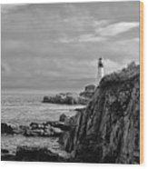 Portland Head Lighthouse - Cape Elizabeth Maine In Black And White Wood Print