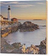 Portland Head Lighthouse In Maine Usa At Sunrise Wood Print
