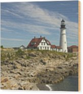 Portland Head Lighthouse Wood Print by Mike McGlothlen