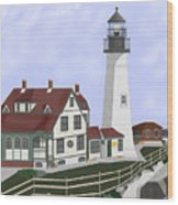 Portland Head Maine On Cape Elizabeth Wood Print