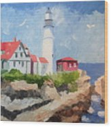 Portland Headlight By The Sea Wood Print