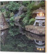 Portland Japanese Garden At Twilight Wood Print