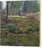Portland Japanese Garden By The Lake Wood Print